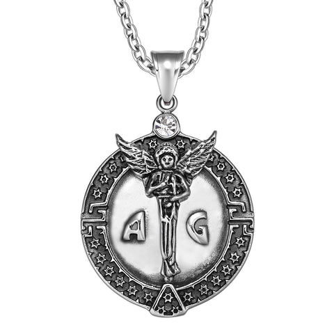 Guardian Archangel Michael Medallion Star of David Accents Amulet White Crystal Pendant 22 Inch Necklace