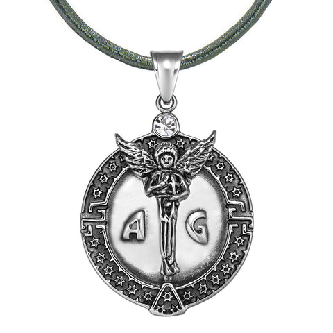 Guardian Archangel Michael Medallion Star of David Accents Amulet White Crystal Pendant Leather Necklace