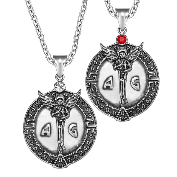 Archangel Michael Star of David Accents Love Copules or Best Friends Amulets Set Red White Necklaces