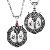 Archangel Michael Star of David Accents Love Copules or Best Friends Amulets Set Red Sky Blue Necklaces