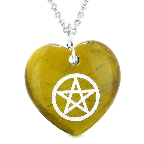 Amulet Magical Pentacle Protection Powers Puffy Heart Energy Tiger Eye Pendant 18 inch Necklace