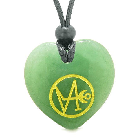 Archangel Gabriel Sigil Magic Amulet Planet Energy Puffy Heart Necklace