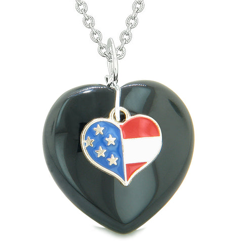 Proud USA Flag Spirit Puffy Heart Protection Amulet American Charm Black Agate 18 Inch Necklace
