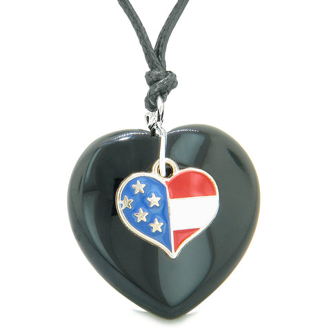Proud USA Flag Spirit Puffy Heart Protection Amulet American Charm Black Agate Adjustable Necklace