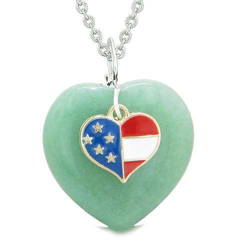 Proud USA Flag Spirit Puffy Heart Protection Amulet American Charm Green Quartz 22 Inch Necklace