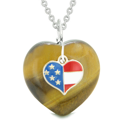 Proud USA Flag Spirit Puffy Heart Protection Amulet American Charm Tiger Eye 22 Inch Necklace