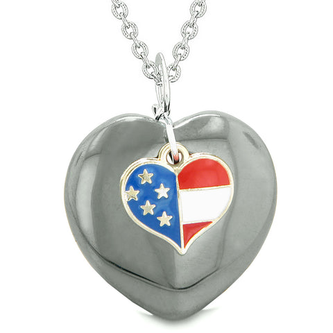 Proud USA Flag Spirit Puffy Heart Protection Amulet American Charm Hematite 18 Inch Necklace