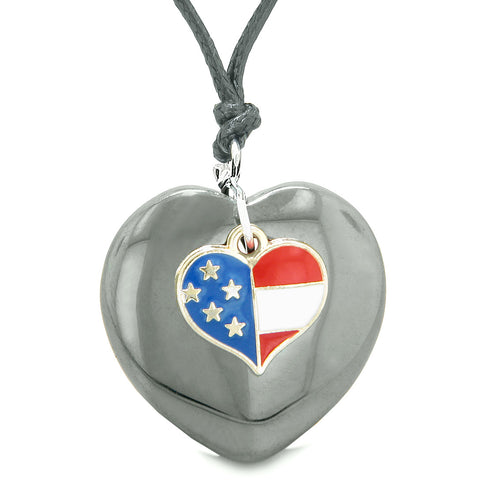 Proud USA Flag Spirit Puffy Heart Protection Amulet American Charm Hematite Adjustable Necklace