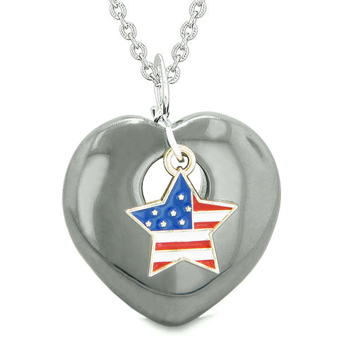 Proud USA Flag Spirit Puffy Heart Protection Amulet American Star Charm Hematite 22 Inch Necklace
