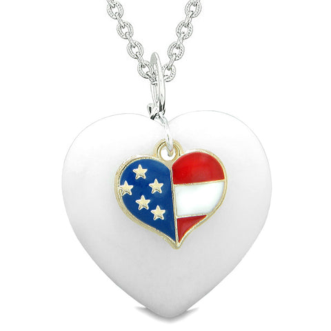 Proud USA Flag Spirit Puffy Heart Protection Amulet American Charm White Quartz 18 Inch Necklace