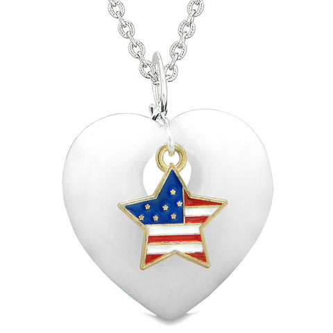 Proud USA Flag Spirit Puffy Heart Protection Amulet American Star Charm White Quartz 18 Inch Necklace