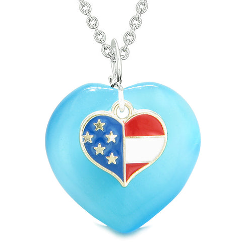 Proud USA Flag Spirit Puffy Heart Protection American Amulet Blue Simulated Cats Eye 22 Inch Necklace