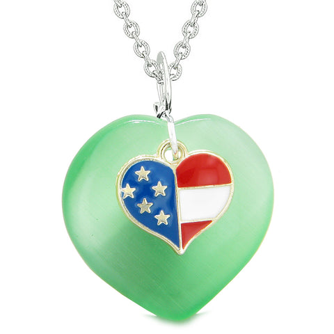 Proud USA Flag Spirit Puffy Heart Protection American Amulet Green Simulated Cats Eye 22 Inch Necklace