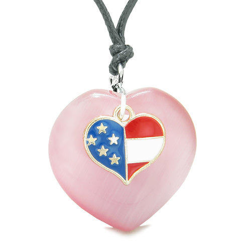 Proud USA Flag Spirit Puffy Heart Protection American Amulet Pink Simulated Cats Eye Adjustable Necklace