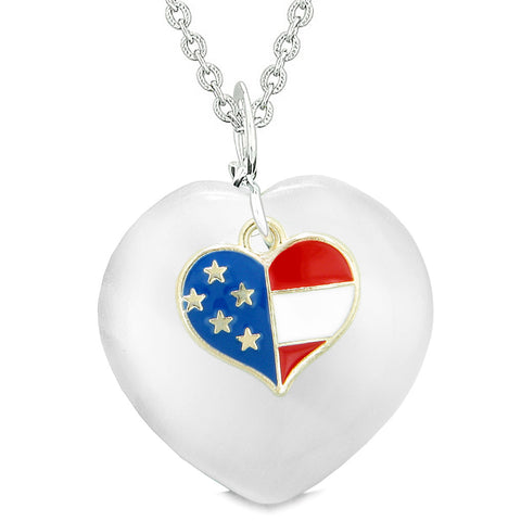Proud USA Flag Spirit Puffy Heart Protection American Amulet White Simulated Cats Eye 18 Inch Necklace