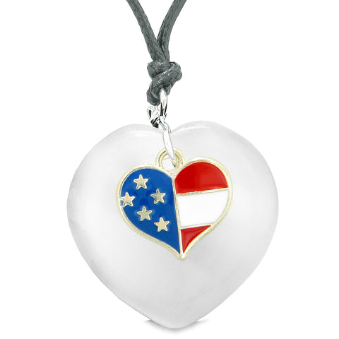 Proud USA Flag Spirit Puffy Heart Protection American Amulet White Simulated Cats Eye Adjustable Necklace