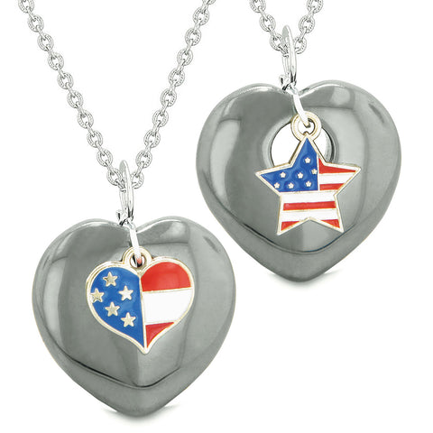 Proud USA Flag Super Heart and Star Love Couples or BFF Set Hematite Protection Amulet Necklaces