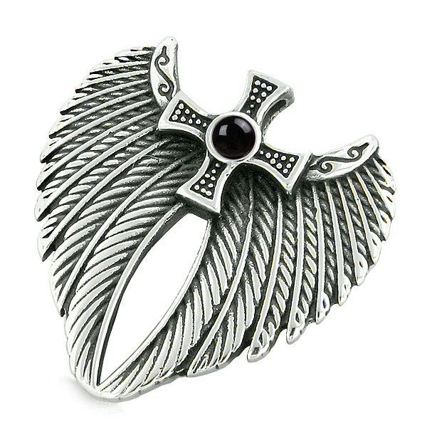 Angel Wings Celtic Viking Cross Magic Powers Amulet Simulated Black Onyx Pendant 22 inch Necklace