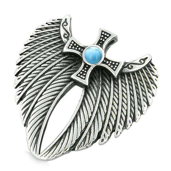 Angel Wings Celtic Magic Cross Love Couple or Best Friends Simulated Turquoise Tiger Eye Necklaces