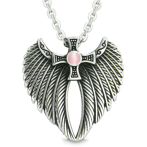 Angel Wings Celtic Viking Cross Magic Powers Amulet Pink Simulated Cats Eye Pendant Necklace