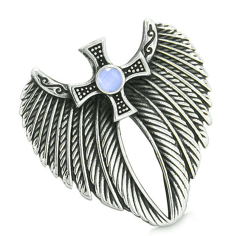 Angel Wings Celtic Viking Cross Magic Powers Amulet Sky Blue Simulated Cats Eye Pendant Necklace