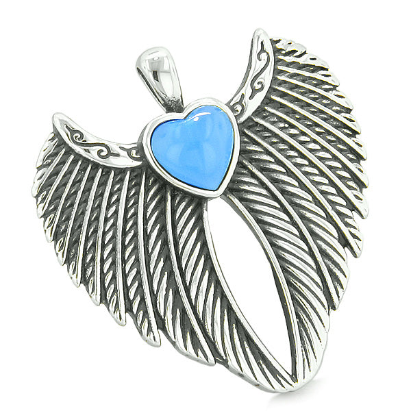 Angel Wings Magic Hearts Love Couples or Best Friends Aqua Blue White Simulated Cats Eye Necklaces