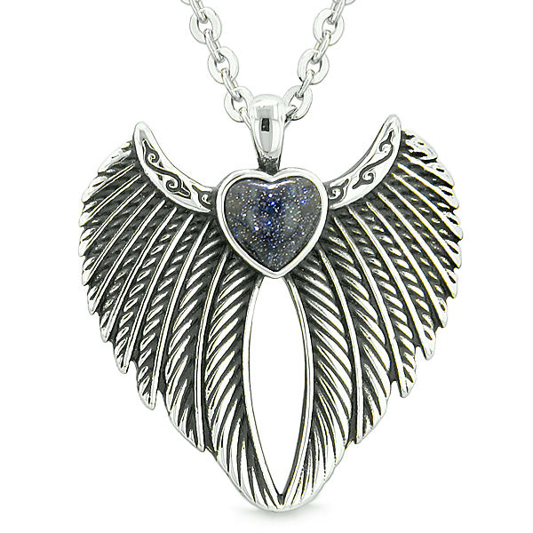 Angel Wings Magic Heart Protection Powers Amulet Blue Goldstone Pendant 18 inch Necklace