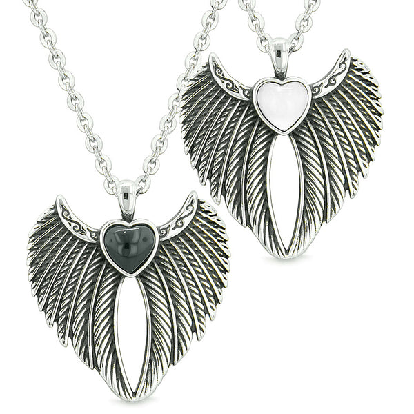 Angel Wings Magic Hearts Love Couples or Best Friends Simulated Onyx Simulated Cats Eye Necklaces