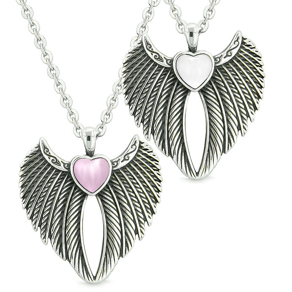 Angel Wings Magic Hearts Love Couples or Best Friends Sweet Pink White Simulated Cats Eye Necklaces