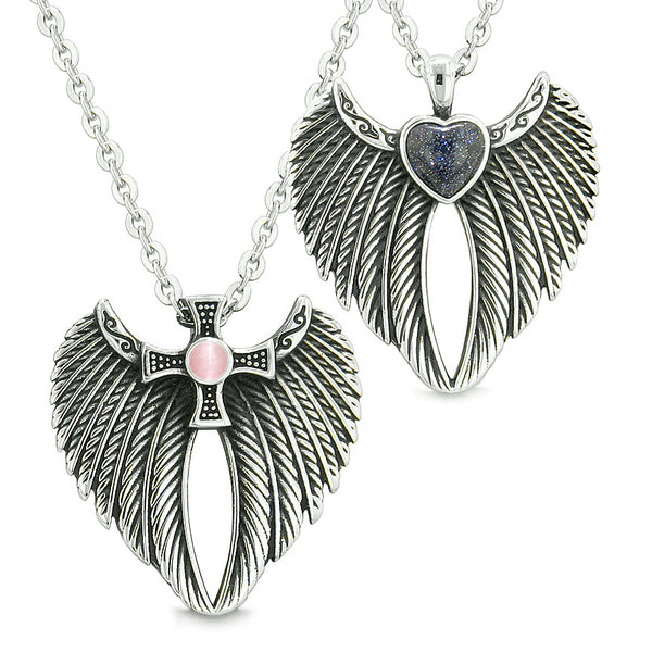 Angel Wings Heart Cross Love Couples or Best Friends Goldstone Pink Simulated Cats Eye Necklaces