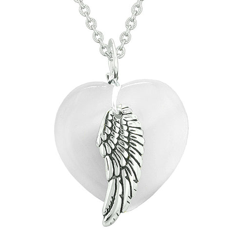 Amulets Angel Wing Hearts Love Couples or Best Friends Agate White Simulated Cats Eye Necklaces