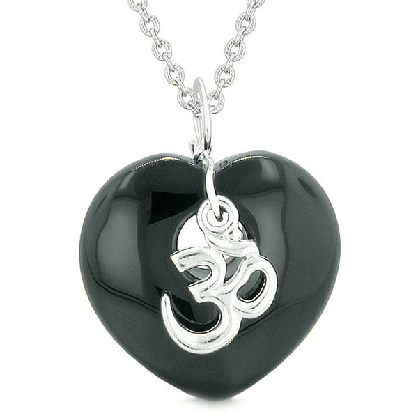 Ancient Tibetan OM Inspirational Amulet Puffy Magic Heart Black Agate Pendant 22 inch Necklace