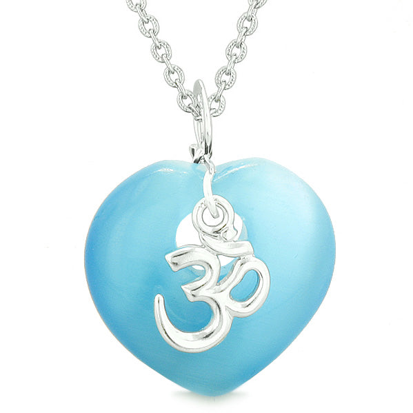 Ancient OM Amulets Love Couples or Best Friends Magic Hearts Blue Pink Simulated Cats Eye Necklaces
