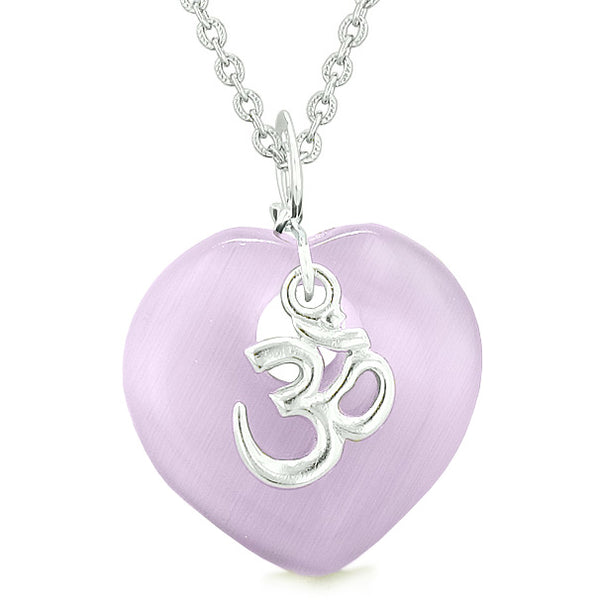 Ancient OM Amulets Love Couples or Best Friends Hearts Pink Purple Simulated Cats Eye Necklaces