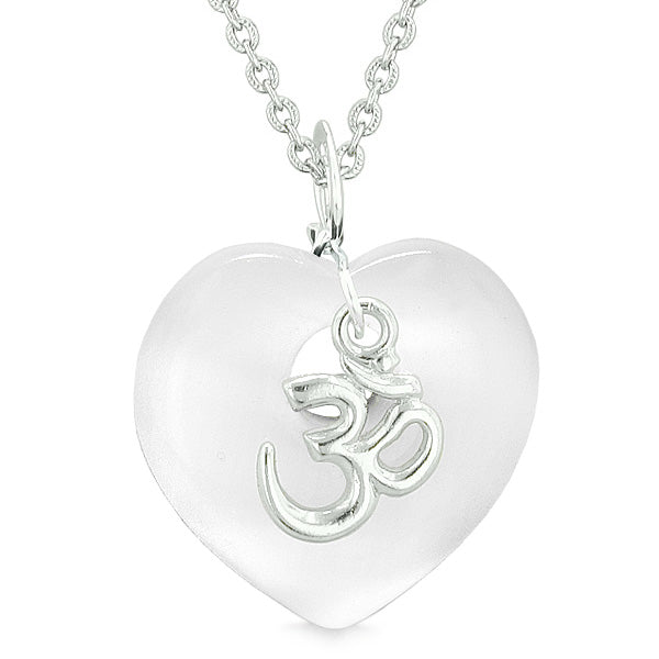 Ancient OM Amulets Love Couples Best Friends Magic Hearts White Pink Simulated Cats Eye Necklaces