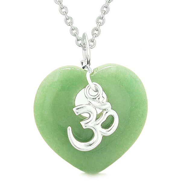 Ancient OM Amulets Love Couples Best Friends Magic Puffy Hearts Red Jasper Green Quartz Necklaces