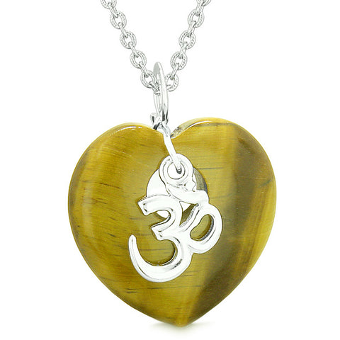 Ancient Tibetan OM Inspirational Amulet Puffy Magic Heart Tiger Eye Pendant 22 inch Necklace