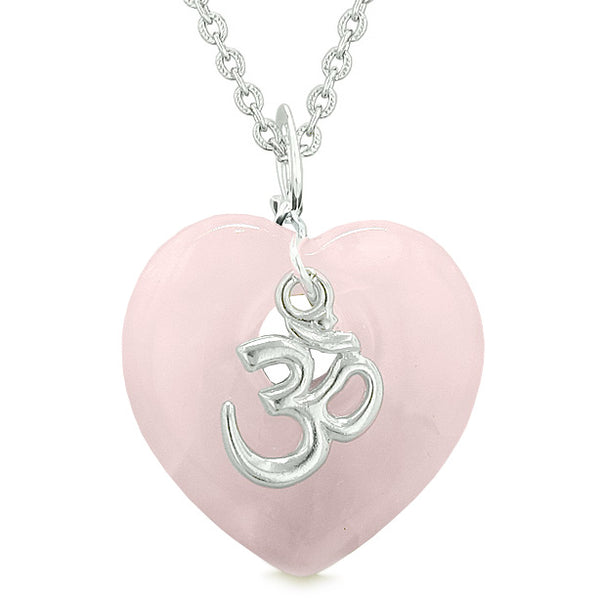 Ancient Tibetan OM Inspirational Amulet Puffy Magic Heart Rose Quartz Pendant 18 inch Necklace