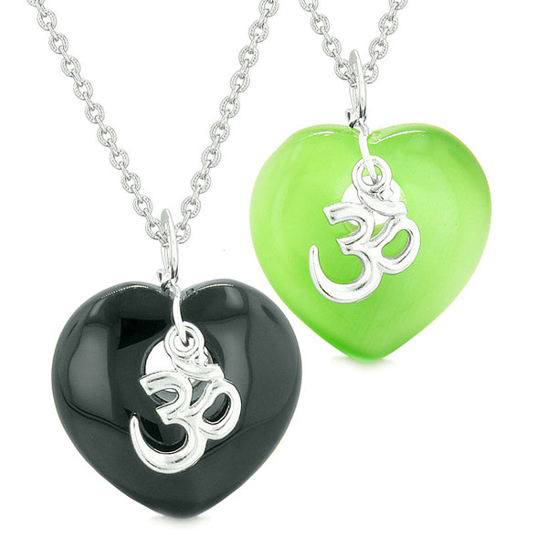 Ancient OM Amulets Love Couples Best Friends Hearts Agate Green Simulated Cats Eye Necklaces