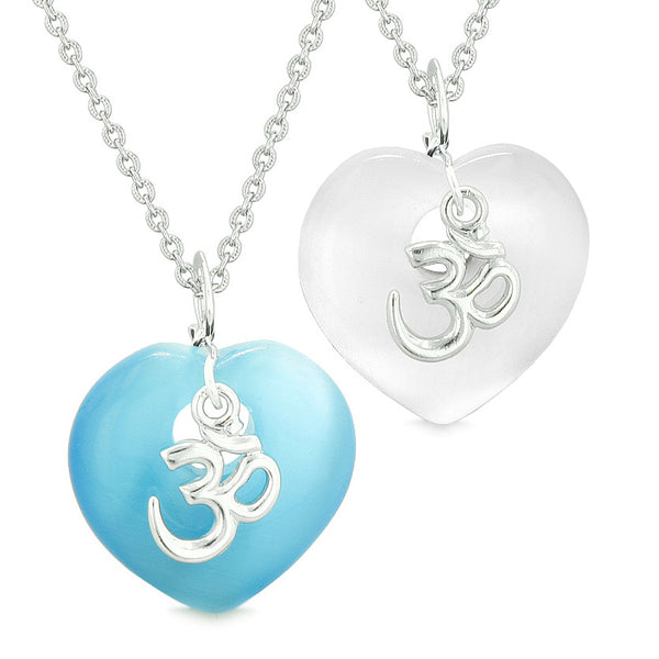 Ancient OM Amulets Love Couples Best Friends Magic Hearts White Blue Simulated Cats Eye Necklaces