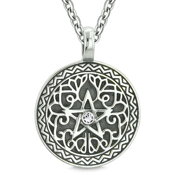 Amulet Pentacle Magic Star Celtic Defense Powers Pentagram White Crystal Pendant 18 inch Necklace