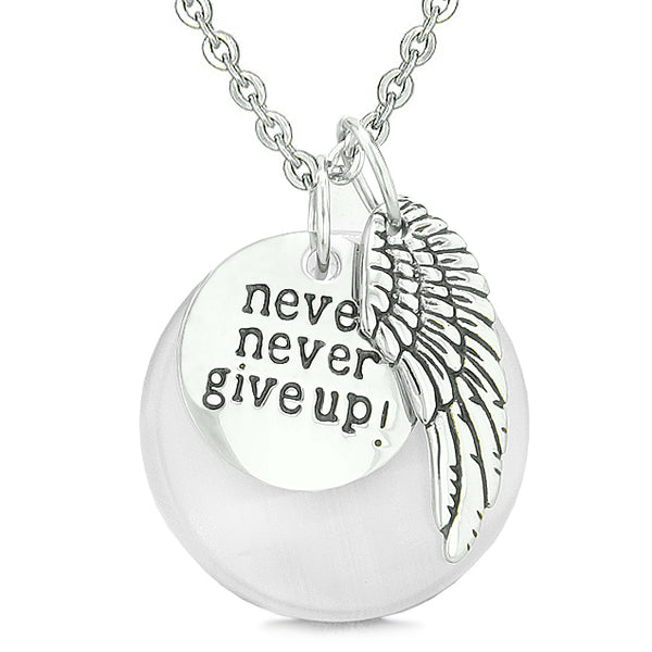 Angel Wing Inspirational Never Give Up Love Couple Amulets Pink White Simulated Cats Eye Necklaces