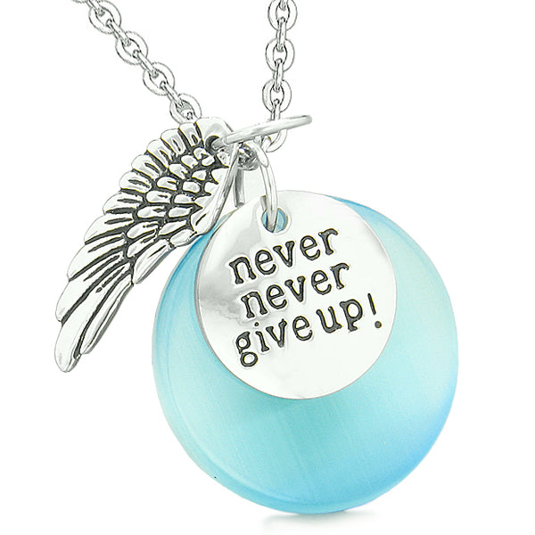 Angel Wing Inspirational Never Give Up Love Couple Amulets Blue White Simulated Cats Eye Necklaces