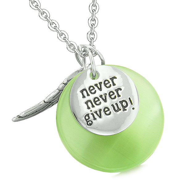 Angel Wing Inspirational Never Give Up Love Couple Amulets Pink Green Simulated Cats Eye Necklaces