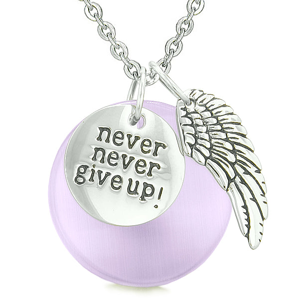 Angel Wing Inspirational Never Give Up Couples Amulets White Purple Simulated Cats Eye Necklaces