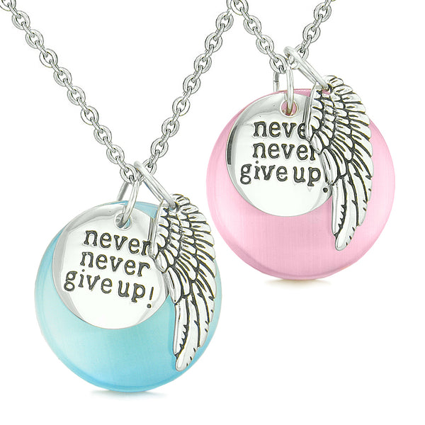 Angel Wing Inspirational Never Give Up Love Couple Amulets Blue Pink Simulated Cats Eye Necklaces