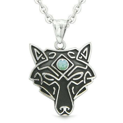 Celtic Wolf All Seeing Third Eye Magic Protection Amulet Green Quartz Pendant 18 inch Necklace