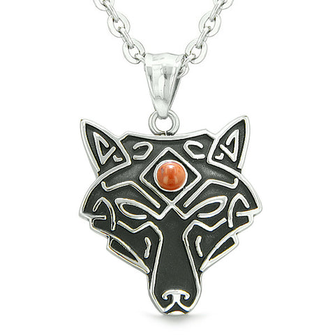 Celtic Wolf All Seeing Third Eye Magic Protection Amulet Red Jasper Pendant 22 inch Necklace