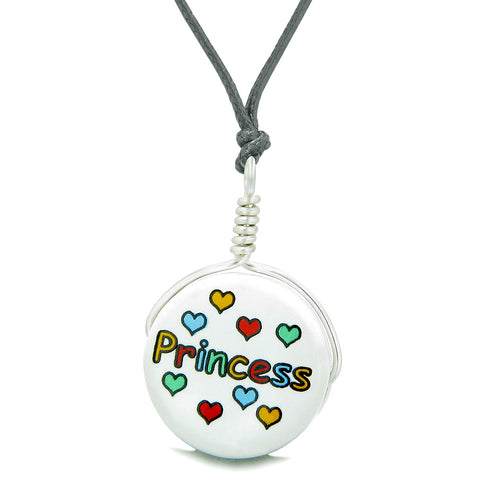 Handcrafted Cute Ceramic Lucky Charm Princess Multicolor Hearts Amulet Pendant Adjustable Necklace