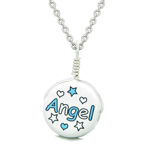 Handcrafted Cute Ceramic Lucky Charm Aqua Angel Stars and Hearts Amulet Pendant 18 Inch Necklace